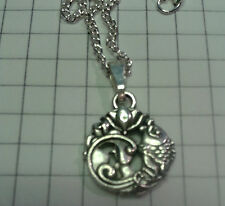 """TIBETAN SILVER PENDANT """"CARP AND LOTUS FLOWER""""20""""OR 22"""" NECKLACE  SILV PLT CHAIN"""