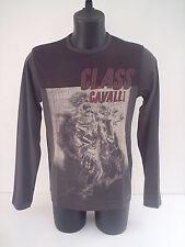T-shirt Roberto Cavalli,uomo a cavallo,colore grigio,manica lunga,tg 50