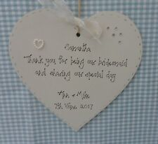 wedding bridesmaid  gift keepsake handcrafted personalised wooden heart  15cm