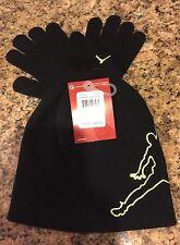 NIKE AIR JORDAN Youth Boys Beanie Knit Hat Glove Set Black Volt Snowboard (8-20)