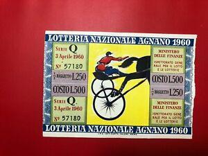 Loterie Ri De Agnano 1960 L.500 Premio 100 Millions