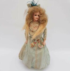 Antique Wax Fashion Lady Doll - Paper Mache/Composition - Cloth Straw Body