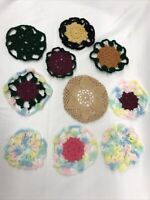 "Hand Crochet Doilies 4-6"" Lace & Crochet Colorful Boho Vintage (10 Piece Set)"