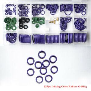 Rubber 225pcs Set Car Air Conditioning Refrigerant A/C Trim Repair O-Ring Seal