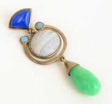 VINTAGE DESIGNER SIGNED WK WHITNEY KELLY MODERNIST DANGLE PENDANT JADE LAPIS !