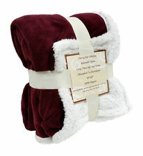 "Reversible Sherpa Microplush Throw Blanket 50""x 60"" Multiple Colors Burgundy"