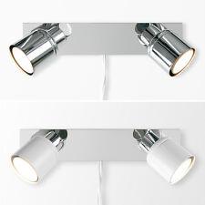 Plug In Easy Fit LED Twin 2 Way Wall Spot Lights Spotlights - Reading / Bedside