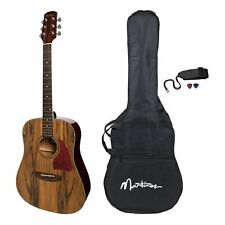 Martinez Acoustic Dreadnought Guitar Pack with Built-In Tuner (Daowood)