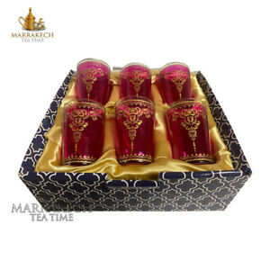 Moroccan Style Tea Glasses set of 6 in Magenta Pink and GIFTBOX Candle Holder