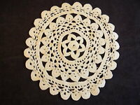 """Vintage HAND KNITTED ROUND TABLE DOILY 6 1/2"""" Star within 2 Circles Hand Made"""