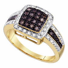 14kt Yellow Gold Womens Round Brown Diamond Cluster Ring