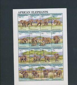 XC95111 Tanzania elephants animals wildlife XXL sheet MNH