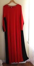 Rachel Pally -Sz 1X Very Long Red & Black L/S Jersey Knit Flowing Maxi Dress
