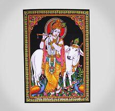 Lord  Krishna Yoga Mat Ethnic Indian Wall Hanging Hippie Tapestry Table Cover