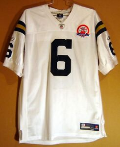 NEW YORK JETS MARK SANCHEZ White AUTHENTIC JERSEY #6 w/ 50th ANNIVERSARY PATCH