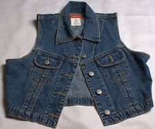 Esprit Denim Snap Vest Cropped Fitted Size Medium Blue Jean Quality Denim