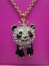 Betsey Johnson Gifting Panda Pendant Necklace Enamel Gold Gift Box NIB