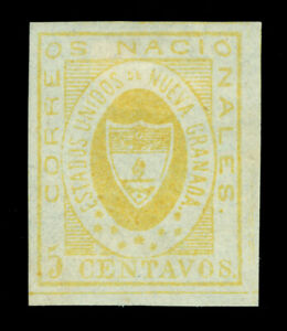 COLOMBIA 1860  Arms of New Granada   5c yellow  Scott # 14  mint MH VF+ stamp