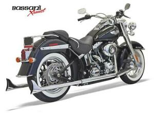 Bassani Xhaust- 33in.Chrome Fishtail Mufflers WITH Baffles for '07-'17 Softails