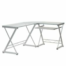 L Shape Corner Computer Desk Withclear Tempered Glass Top Amp Pull Out Keyboard Tray