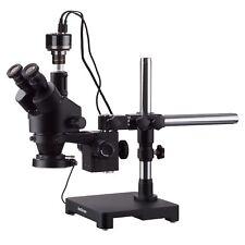 AmScope 3.5X-180X Trinocular Stereo Zoom Microscope Boom + 144-LED + HD Camera