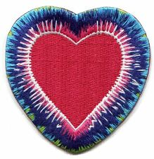RED HEART tie dye border EMBROIDERED PATCH **FREE SHIPPING** c p4396 love peace