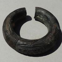 old antique heavy 2 lbs 854 grams bronze decorated african bracelet nigeria #172