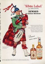 1960 DeWars White Label Scotch Whisky Bagpipes Tartan Dress Clan Bruce PRINT AD