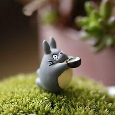 2 pcs Miniature Totoro Drinking Tea Figure Fairy Garden Terrarium Supplies