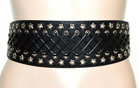 CINTURA stringivita nera donna elastica ecopelle sexy bustino stelle argento A36
