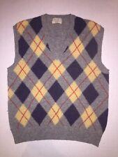 United Colors of Benetton Cardigan Sweater Mens M Shetland Wool Vintage Grey