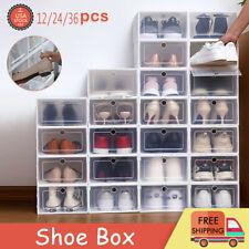 12-36 pcs Shoe Storage Box Case Sneaker Organizer Stackable Plastic Transparent