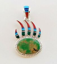 NATURAL GREEN TURQUOISE MULTICOLOR LAPIZ MOP INLAY .925 SILVER BEAR PAW PENDANT