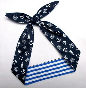 Anchor print Hair wrap Rockabilly Pinup Head Scarf stripes blue white Headband