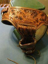 "Ted Blocker Western Hand Tooled Holster & Size 38 Gun Belt 4"" Colt Python Revolv"
