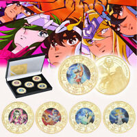 5pcs Saint Seiya Gold Commemorative Coin Hyoga Shiryu 12 Palace Collection Set