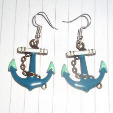 Kitsch Kawaii Nautical Blue & Green Enamel anchor Charm Earrings