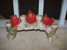 Christmas Winter Log Pine Cone Candle Holders Red Cardinals Drip Pottery