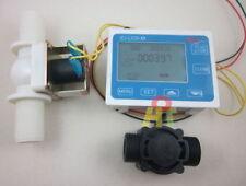 "G3/4"" Water Flow Control LCD Display+Flow Sensor Meter+Solenoid Valve Gauge"