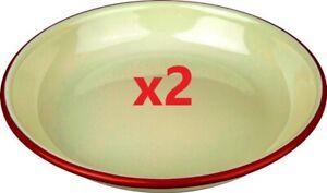 2 x Falcon Enamel Rice/Pasta Plate Cream With Red Trim 22cm [0067H]