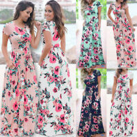 Womens Stretchy Ladies Beach Floral Boho Party Holiday Pleated Maxi Long Dress