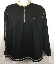 UNION BAY Men's 1/4 Zip Pullover CREWNECK Polyester Sweatshirt Black Striped LG