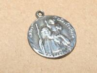 Vintage Sterling Silver St Christopher Protect Us Pendant or Charm 3/4 inches