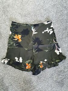 River Island Khaki Floral High Waist Shorts Size 8