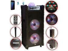 Karaoke Anlage mobile PA Lautsprecherbox Trolley USB SD MP3 Wireless LED Dico DM