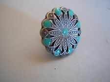 """Filigree Old Silver And Turquoise Epoxy Concho 1 1/2"""""""