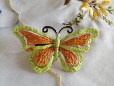 Vintage Signed Jj Butterfly Brooch, Light Green & Orange, Signed Pin