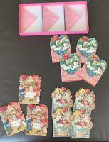 Set Of 11 Note Cards Envelopes 3-D Floral Birds Cats Valentine Punch Studio