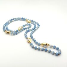 """24K Gold Plated freshwater Pearl Connector Frosted Blue  Agate  40"""" Necklace"""