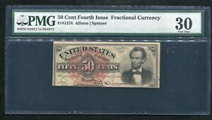 """FR. 1374 50 FIFTY CENTS FOURTH ISSUE FRACTIONAL CURRENCY """"LINCOLN"""" PMG VF-30"""